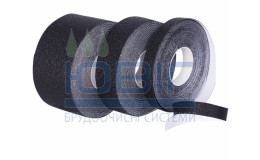 Антискользящая лента упругая, черная. Рулон 18.3 п. м. фото
