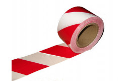 Лента оградительная красно-белая 100 м. фото